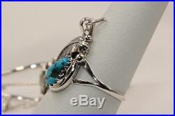 Signed Native American Navajo Made Sterling Silver Turquoise Slave Bracelet