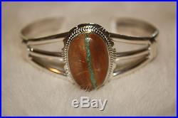 Signed Navajo Made Sterling Silver Boulder Turquoise Bracelet