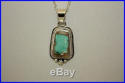 Signed Navajo Made Sterling Silver Boulder Turquoise Necklace / Pendant