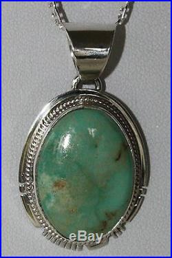 Signed Navajo Made Sterling Silver Emerald Valley Turquoise Pendant / Necklace