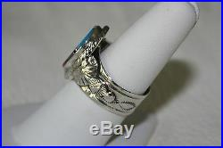Signed Navajo Made Sterling Silver Multi Stone Inlay Ring Size 8