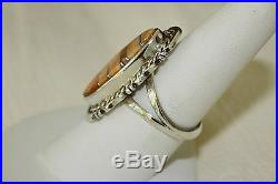 Signed Navajo Made Sterling Silver Orange Spiny Oyster Ring Size 8.25