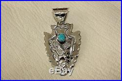 Signed Navajo Made Sterling Silver Turquoise & Eagle Arrowhead Pendant