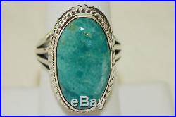 Signed Navajo Made Sterling Silver Turquoise Ring