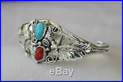 Signed Navajo Made Sterling Silver Turquoise and Coral Cuff Bracelet