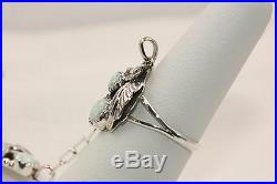 Signed Navajo Native American Made Sterling Silver Opal Slave Bracelet