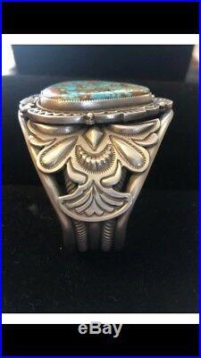 Silver Ingot Bracelet made of Gem Grade Number 8 Turquoise Sammie Kescoli Begay