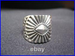 Size 11 Sterling Silver Men's Ring Navajo Made By Artist Derrick (Signed) R116