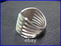 Size 7 1/2 White Opal Ring Inlaid In 5 Rows & Set In S. Silver Zuni Made R58