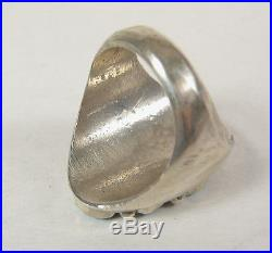 Size 9.5 Navajo Blue Turquoise Ring. 925 Sterling Silver Mens Jewelry USA Made