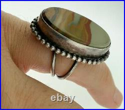 Southwest Picture Scenic Agate Sterling Silver Navajo Hand Made Ringvintage