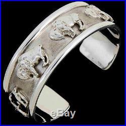 Sterling Buffalo Cuff Bracelet Native American Made