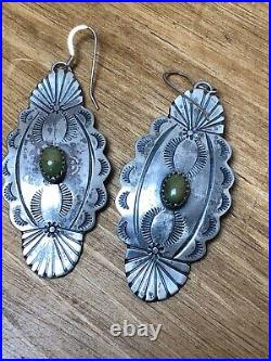 Sterling Hand Stamped Turquoise Earrings Old Estate Huge Made By Running Bear
