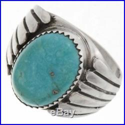 Sterling Kingman Turquoise Men's Ring Vintage Design Navajo Made Sizes 9 to 13