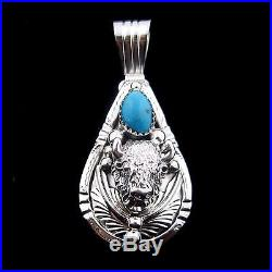 Sterling Silver Buffalo Pendant With Turquoise Native American Made - P97 A T