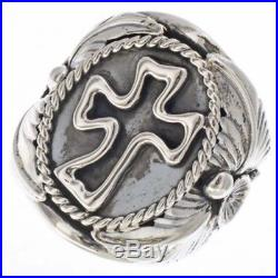 Sterling Silver Christian Cross Men's Signet Ring Navajo Made Sizes 9 to 14