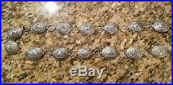 Sterling Silver, Hand Made by Native American, 13 Concho Belt Signed WS