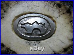 Sterling Silver Heartline Bear Antler Belt Buckle! Vintage! Rare! Hand Made! USA