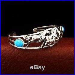 Sterling Silver Ladies Turquoise Horse Bracelet Native American Made-B28