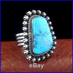 Sterling Silver Ladies Turquoise Ring Size 7.5 Native American Made - R56 A