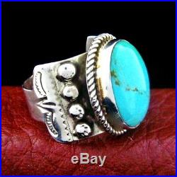 Sterling Silver Mens Turquoise Ring Size 11 Native American Made - R18 G