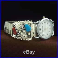 Sterling Silver Mens Turquoise and Coral Watch Native American Made - W39 T