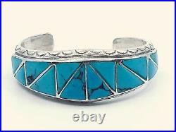 Sterling Silver Native American Made Genuine Turquoise Cuff Bracelet. Solid 48gr