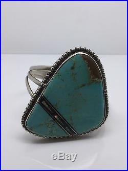 Sterling Silver Native Made RARE Royston Turquoise Onyx Opal Inlay Huge Bracelet