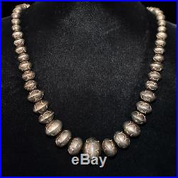 Sterling Silver Navajo Pearl Necklace, Hand-made & Stamped Graduated Beads, 22L