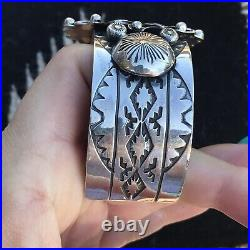 Sterling Silver Navajo Stamped Sun Face Cuff Made By Rick Enrique & Garret Hall