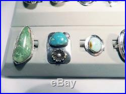 Sterling Silver Ring Lot of 12 Native American made 85 gr. $ 825 retail