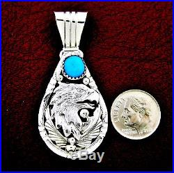 Sterling Silver Turquoise Eagle Head Pendant Native American Made - P29 w