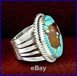 Sterling Silver Turquoise Men's Ring Size 11 Native American Made - R37 A