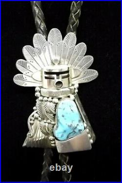 Sterling Silver and Turquoise Bolo Tie Made by J. Delgarito