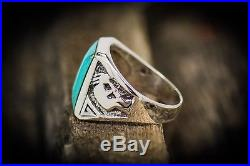 Sterling silver Navajo made Kokopelli ring with Kingman Turquoise inlay Size 12.5
