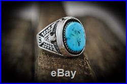 Sterling silver Navajo made Thunderbird ring with Kingman Turquoise Size 13