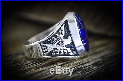 Sterling silver Navajo made ring with an 8 piece inlay of Lapis Lazuli Size10