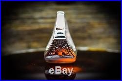 Sterling silver Navajo made thunderbird ring with Orange Spiny Oyster inlay S11.5
