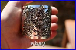 Story Teller NAVAJO Signed LARGE Wide Sterling Silver Hand Made Cuff Bracelet