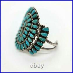 Stunning Large Zuni Petit Point Turquoise Cuff Bracelet Artisan Made Signed MS