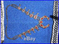 Stunning vintage silver and coral hand made squash blossom necklace signed CLDXZ