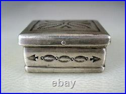 Sturdy Old Hand Made Navajo Stamped Sterling Silver Pillbox