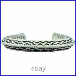 Sunshine Reeves, Triangle Wire Bracelet, Silver, Stamping, Navajo Made, 6 1/2