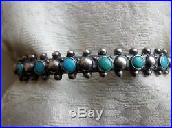 Super Nice Petit Point Snake Eye Cuff Blue/green Turquoise Hand Made Sterling