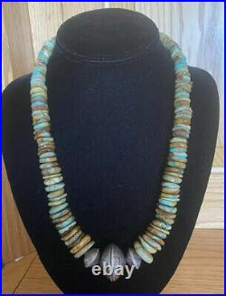 Taos Pueblo Hand-Made Royston Turquoise Beads U. S. Coin Necklace