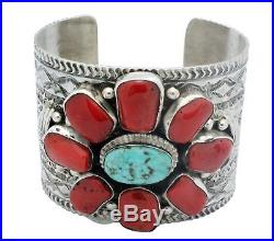 Tillie Jon, Bracelet, Kingman Turquoise, Mediterranean Coral, Navajo Made