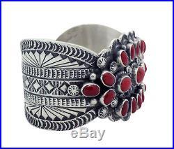 Tillie Jon, Bracelet, Mediterranean Coral, Cluster, Silver, Navajo Made, 6.75