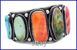 Tillie Jon, Bracelet, Spiny Oyster Shell, Turquoise, Silver, Navajo Made, 6.75