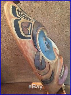 Tlingit hand carved tribal dogfish mask genuine Alaska made NW coast