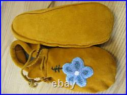 Traditional Native American Moccasins, Hand Made Leather Beaded Flower 10' Inches